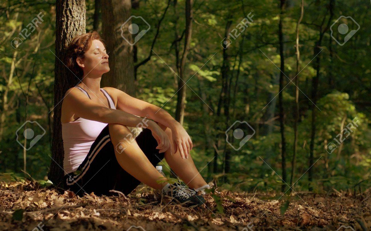 Mature woman runner resting. Stock Photo - 3466795