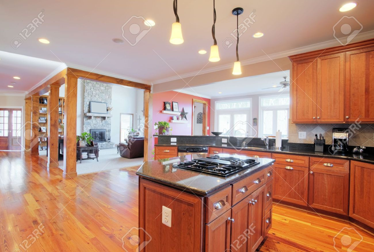 Ansicht Von Einer Großen Gehobene Küche Mit Hartholz Fußböden Und