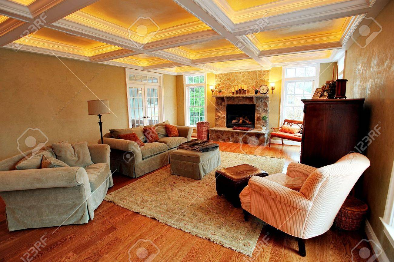 Upscale Living Room Furniture View Of An Upscale Living Room Interior With A Box Beam Ceiling
