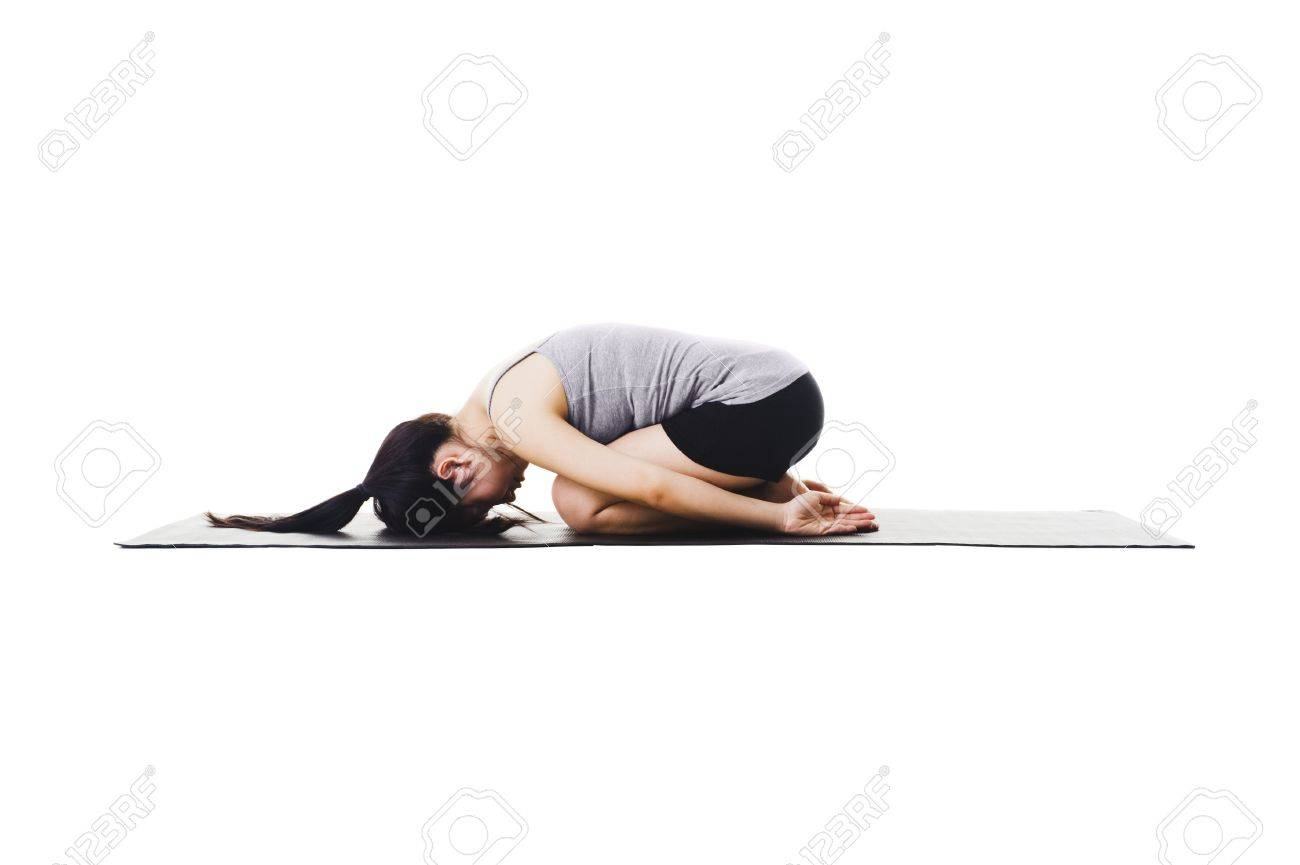 Chinese Woman On A Yoga Mat Doing The Childs Pose Stock Photo Picture And Royalty Free Image Image 11261343