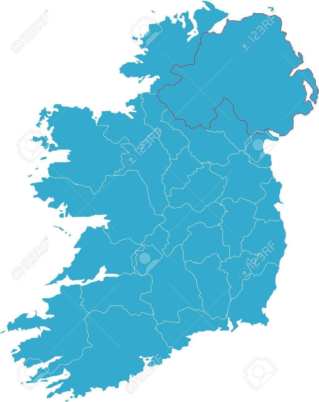 Country Map Of Ireland.There Is A Map Of Ireland Country Royalty Free Cliparts Vectors