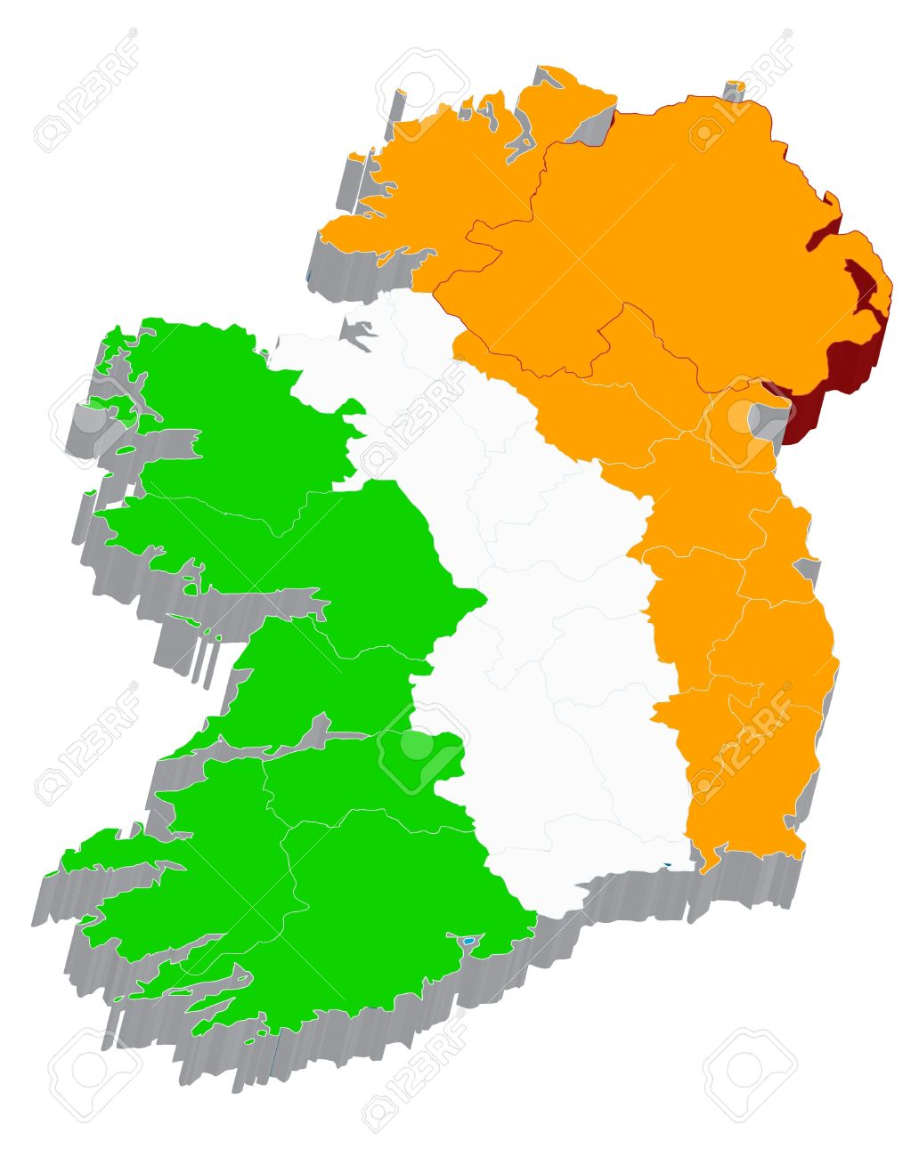 Map Of Ireland 3d.There Is A 3d Map Of Ireland With Flag On