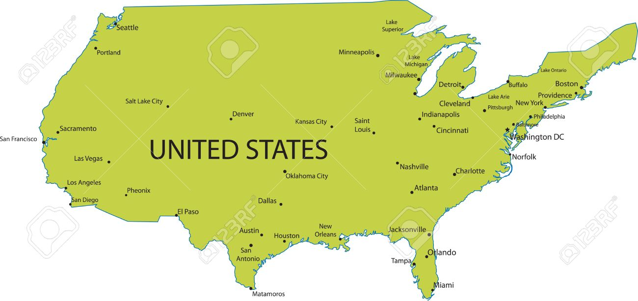 Map Of United States Of America With Major Cities Royalty Free - Map of the united states major cities