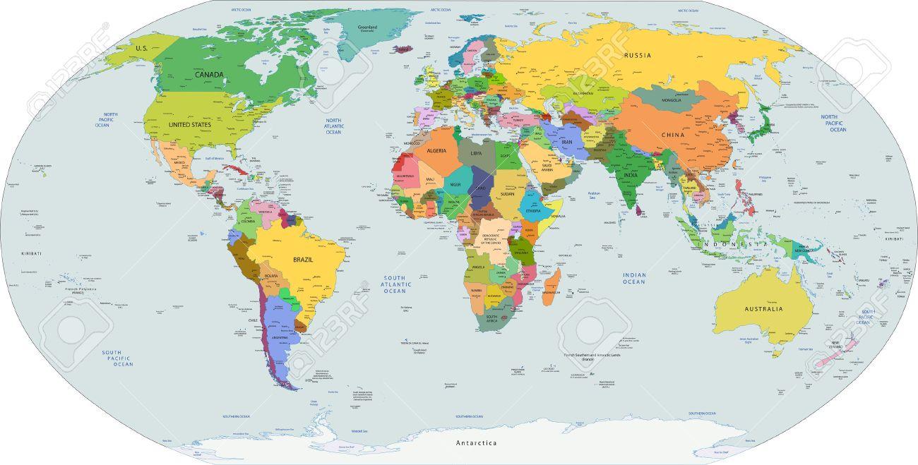 Mappa Mondo Cartina.Vettoriale Mappa Politica Globale Del Mondo Capitali E Citta