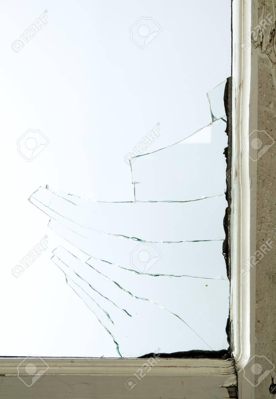 Broken Window Glass With Wooden Vintage Frame Around Stock Photo ...