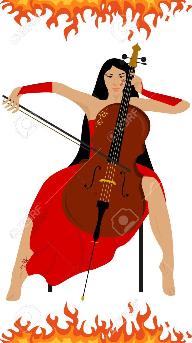 illustration of a beautiful girl who plays the cello. - 45589527