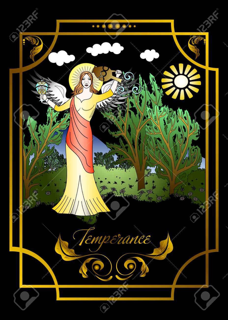 Suit of the temperance, tarot card illustration