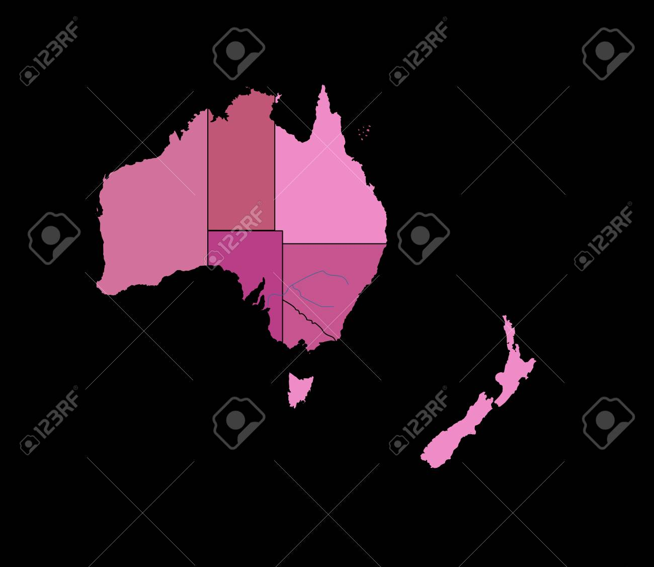 Australia Geographical Map.The Illustration A Geographical Map Of The Australia Royalty Free