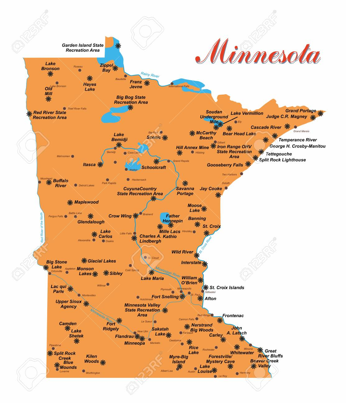 Illustration with detailed map of the state of Minnesota with.. on olympic national park map, food by state map, state birds map, badlands national park map, cuyahoga valley national park map, gates of the arctic national park map, national parks in each state, national map of usa, monuments by state map, new york state national parks map, casinos by state map, politics by state map, carlsbad caverns national park map, concealed carry by state map, religion by state map, katmai national park and preserve map, national wildlife refuges by state map, superfund sites by state map, military bases by state map, weather by state map,