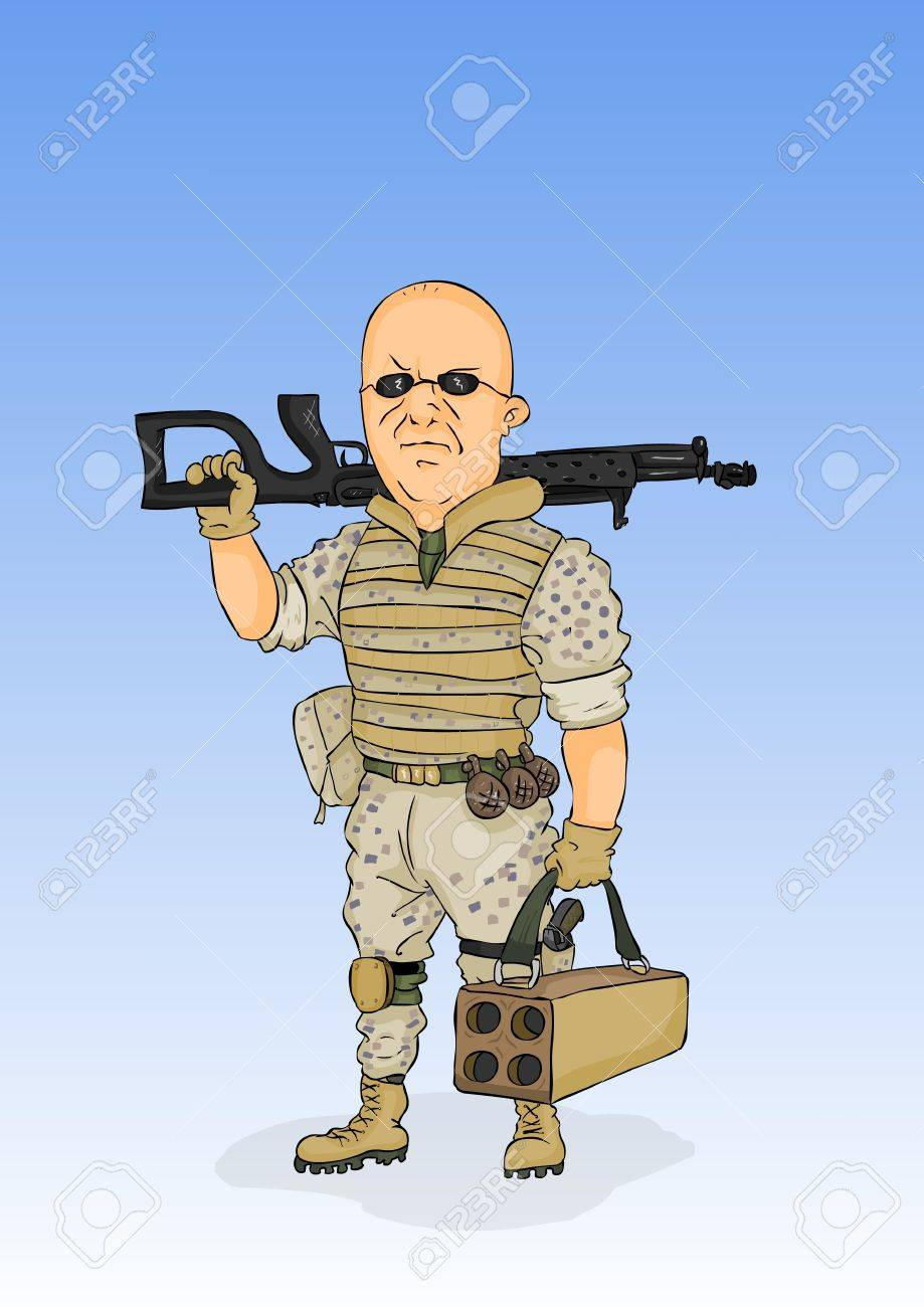 Militarist in the form of the desert with arms Stock Vector - 12483287