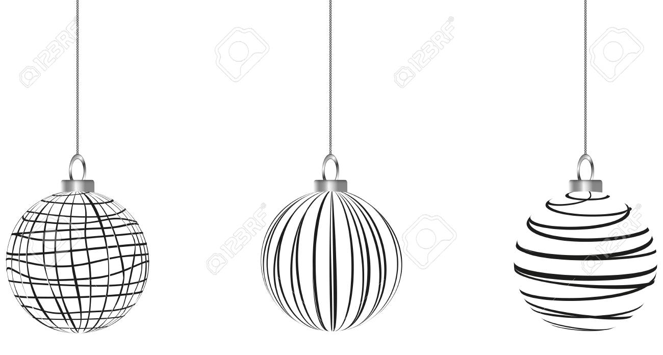 Schwarz Weiße Christbaumkugeln.Stock Photo