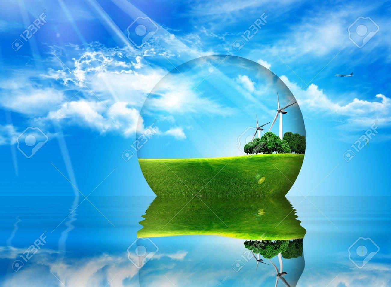 ball inside ptato trees and wind turbines Stock Photo - 6813601
