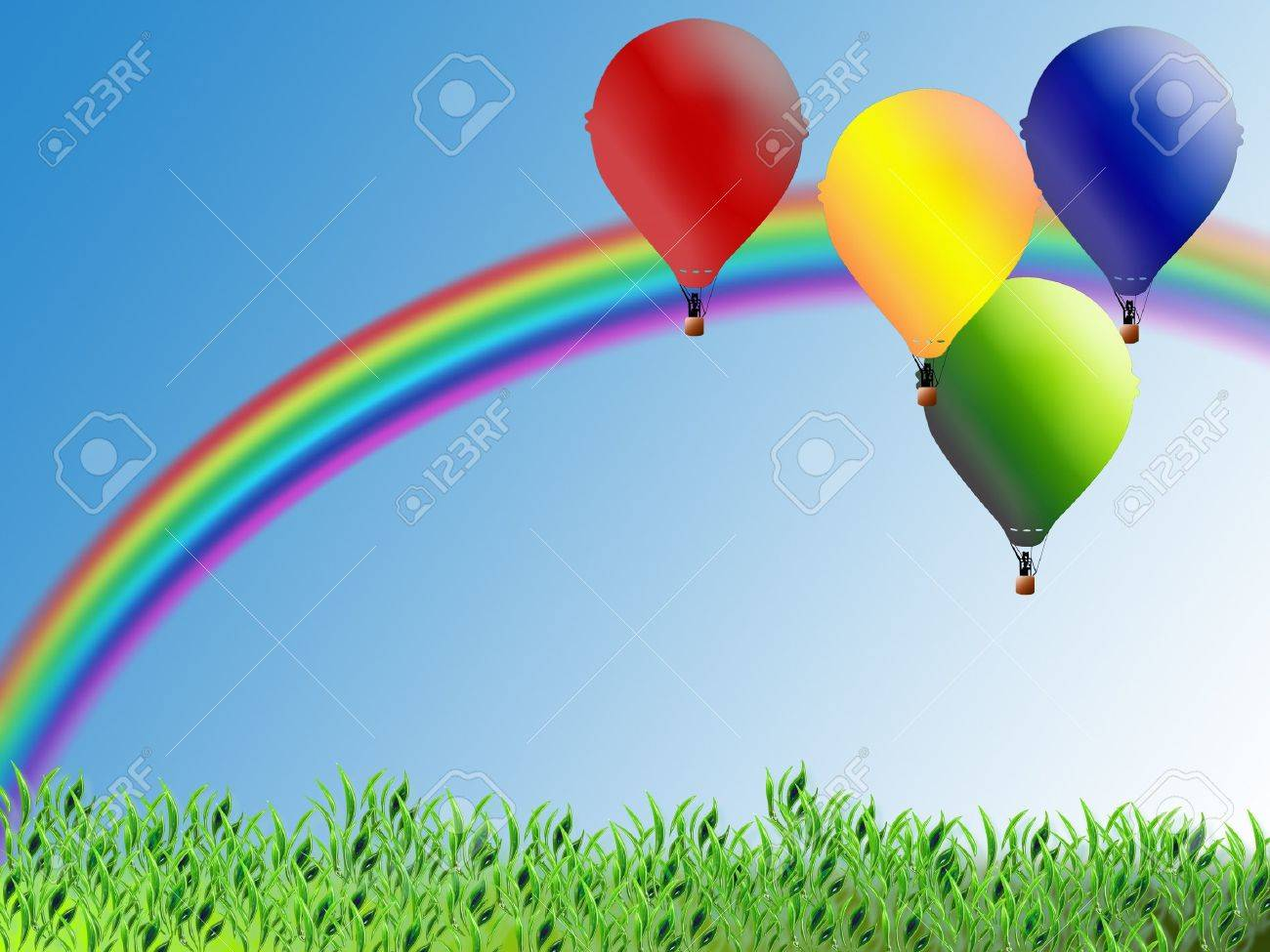 Illustration for children with balloons and rainbow Stock Photo - 7947426