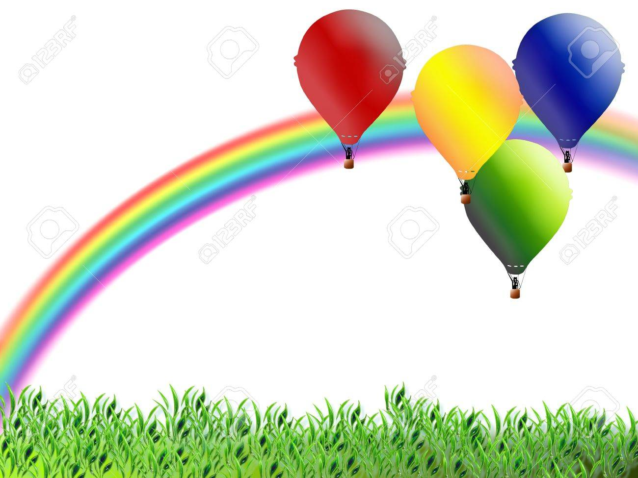Illustration for children with balloons and rainbow Stock Illustration - 8000040