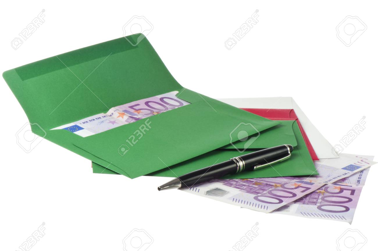 Colored envelope with Euros on white background Stock Photo - 17299945