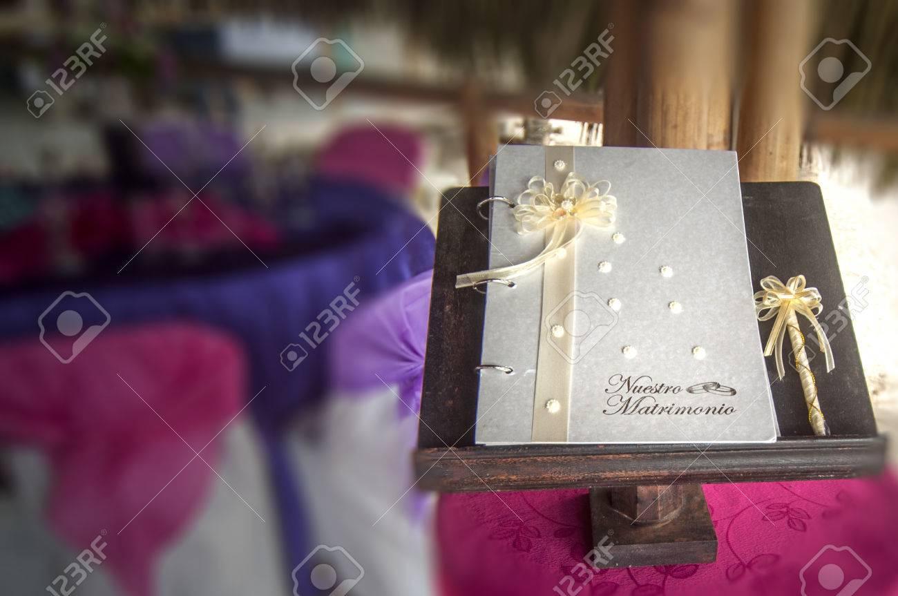 Traditional Wedding Book For Signature In Ecuador Stock Photo