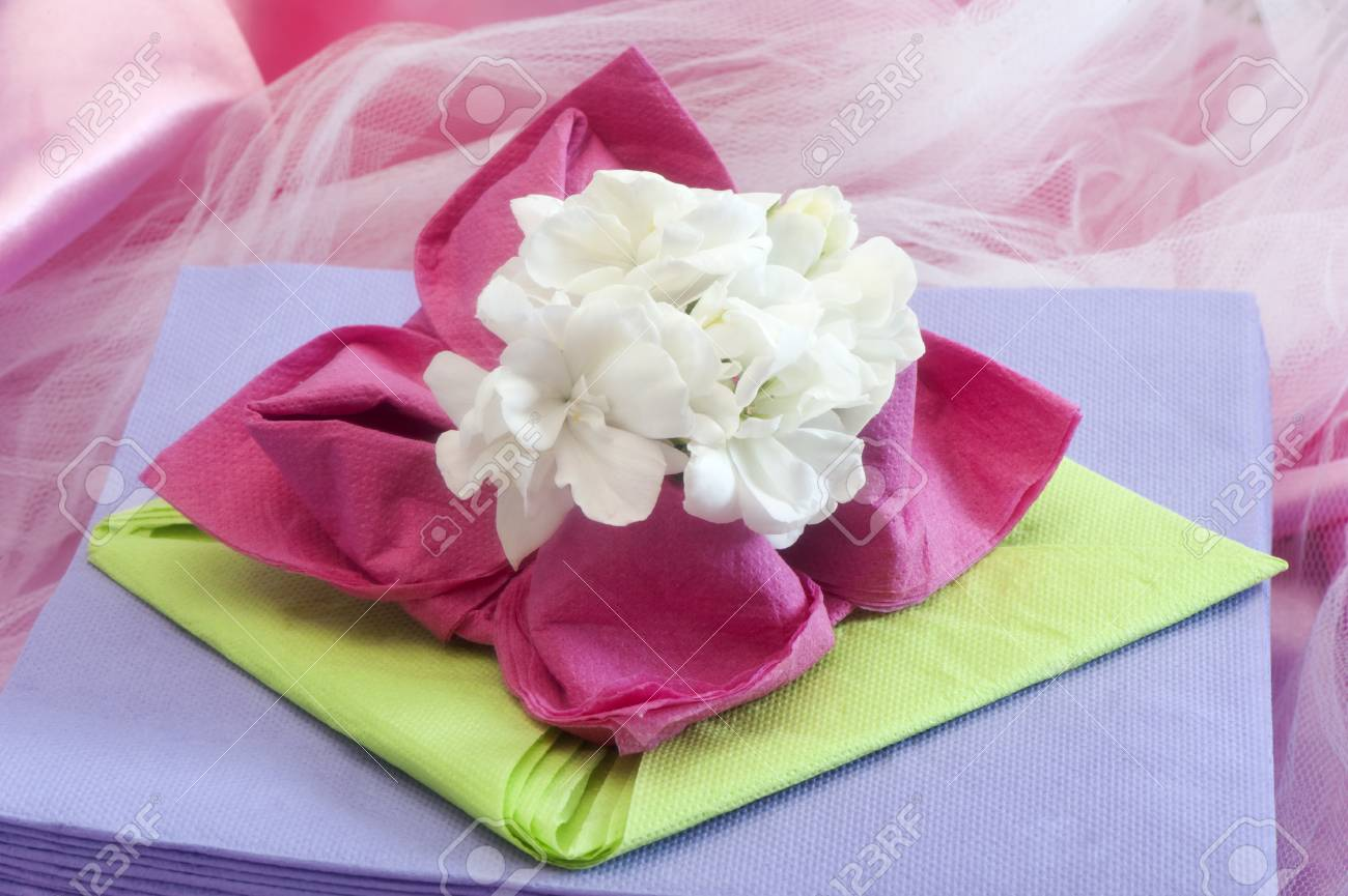 Elegant origami napkins to decorate the table on fabric background elegant origami napkins to decorate the table on fabric background stock photo 28287257 mightylinksfo