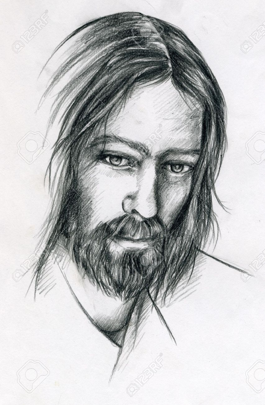 Pencil portrait of jesus christ stock photo 7355199