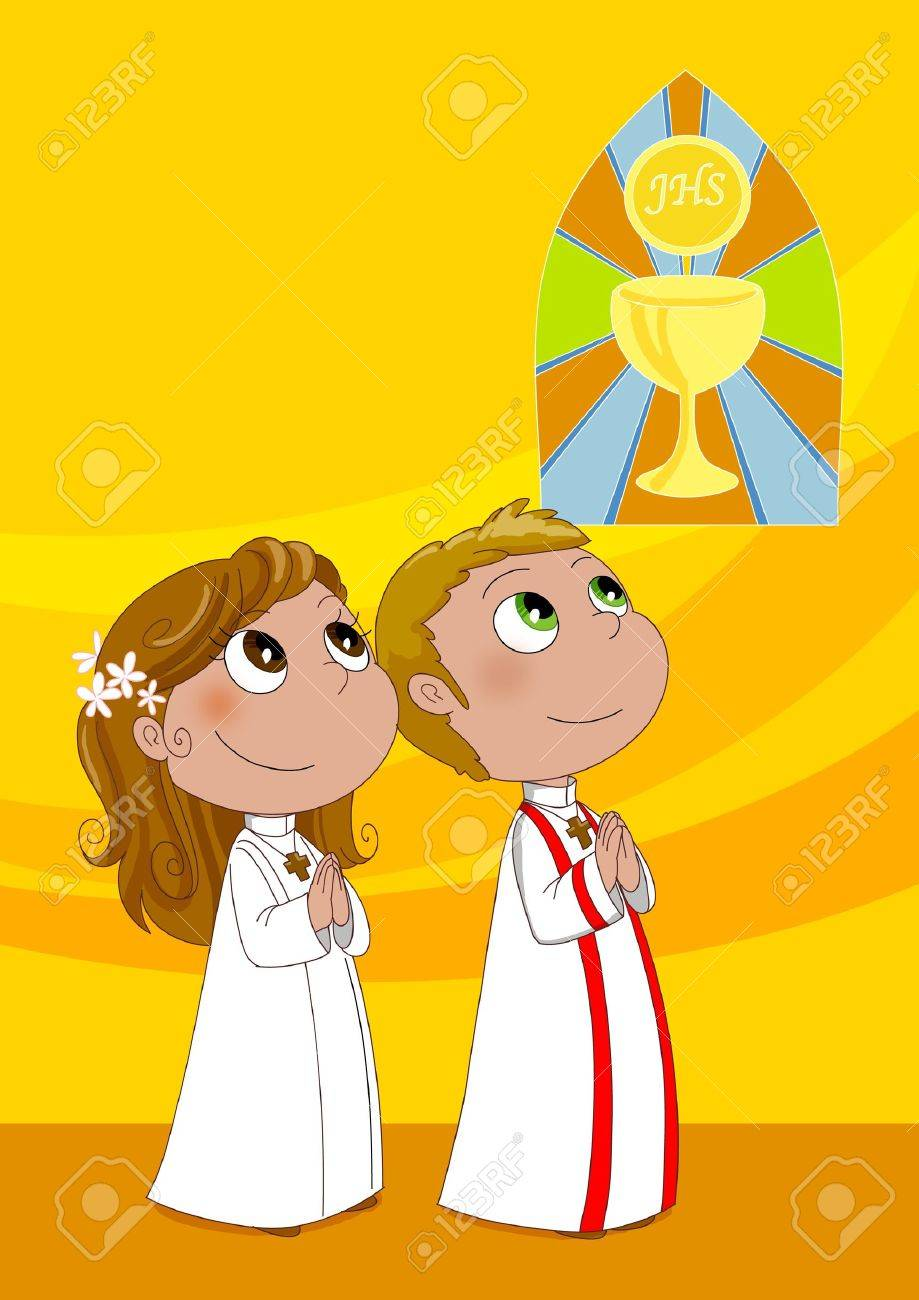 Two children during first communion in a catholic church Stock Photo - 8308751