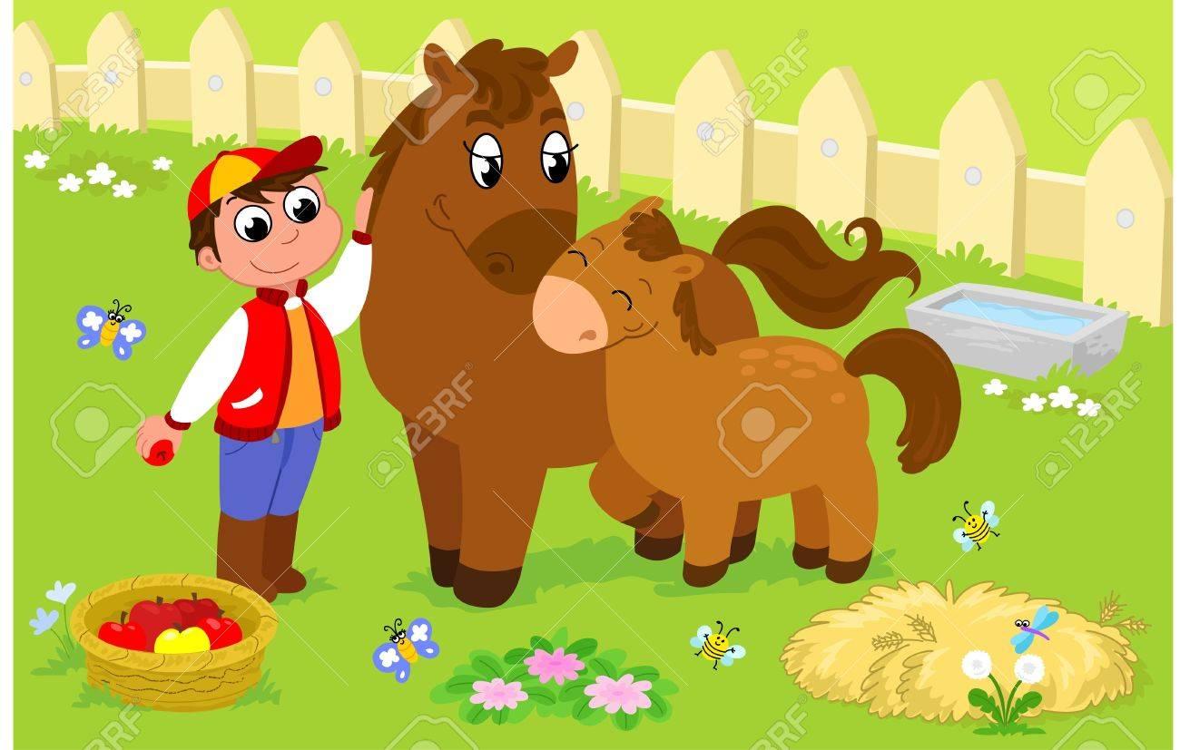 Niño Con Caballo Y Potro Lindo Ilustración De Dibujos Animados Para