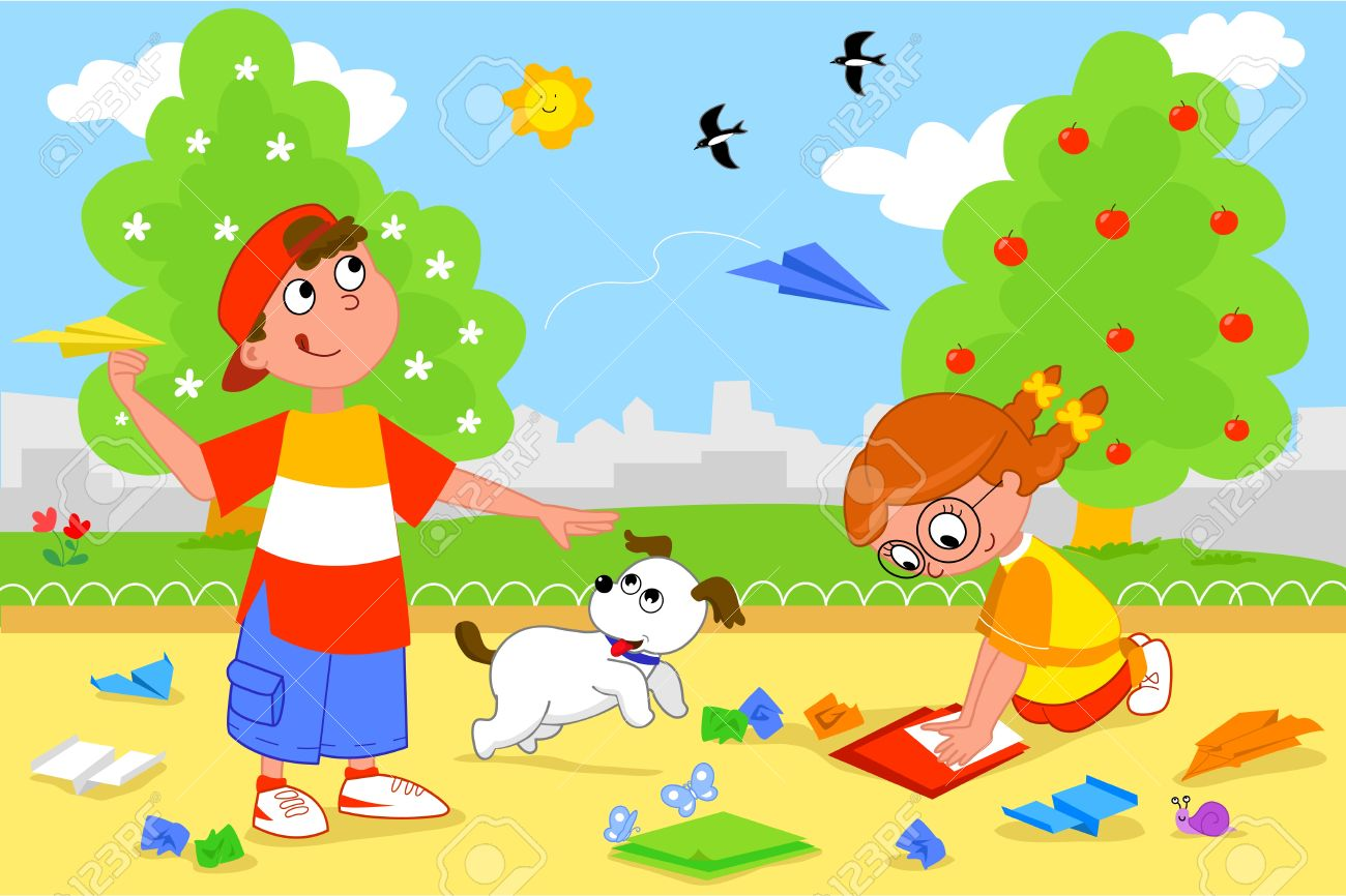Boy and girl playing with paper airplanes. Stock Vector - 9707973