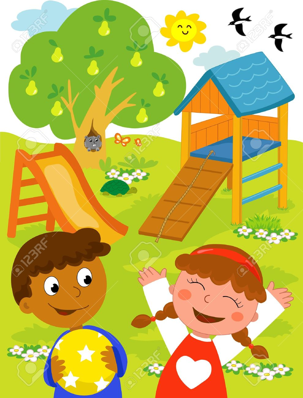 Playground: cartoon illustration of a black boy and a caucasian girl playing together at the park. Stock Vector - 9707988