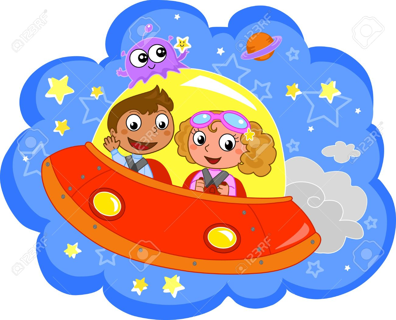 Cartoon children traveling on a space rocket. Stock Vector - 9707971