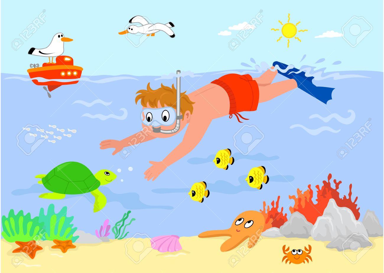 kid swimming underwater with sea creatures cartoon illustration