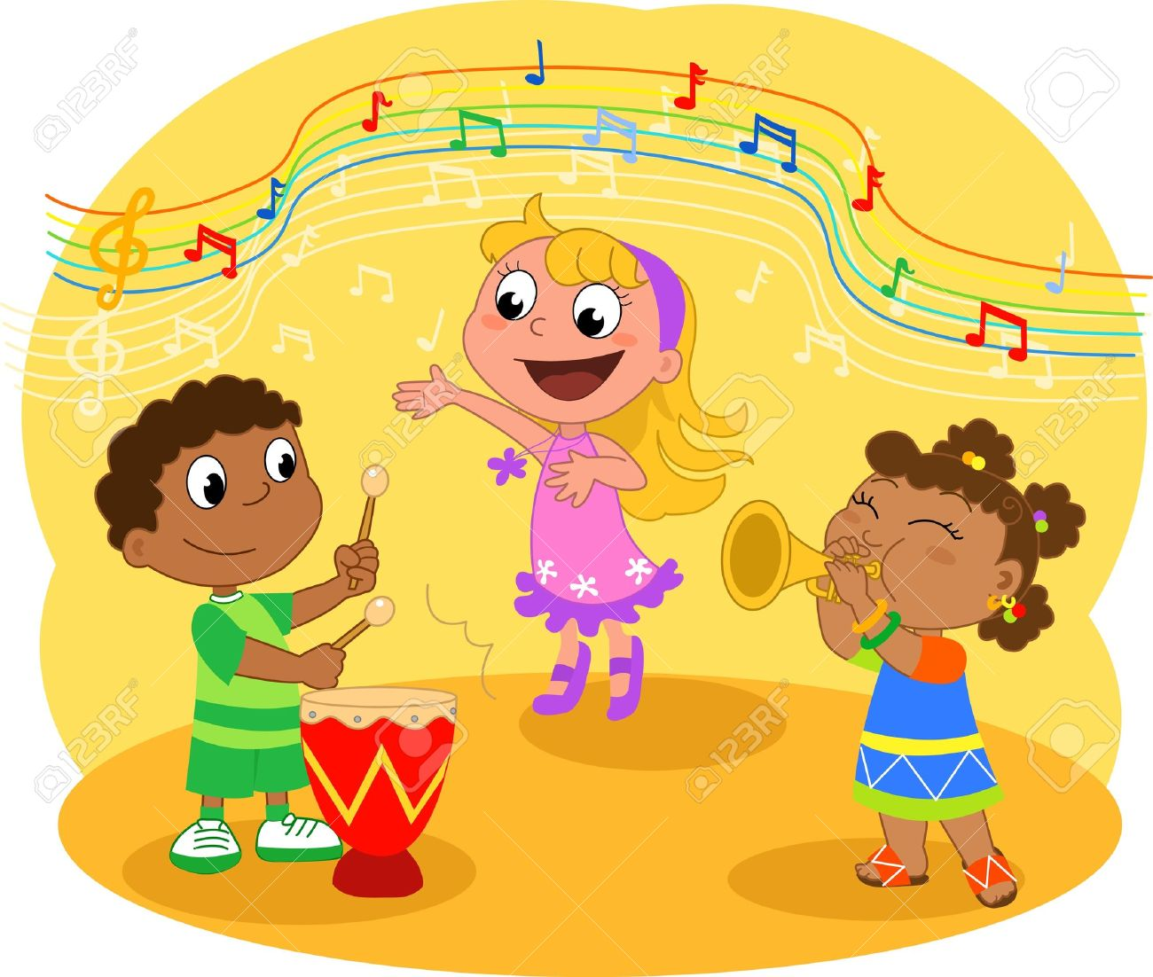 Young Music band: Children playing and singing Stock Vector - 9708081