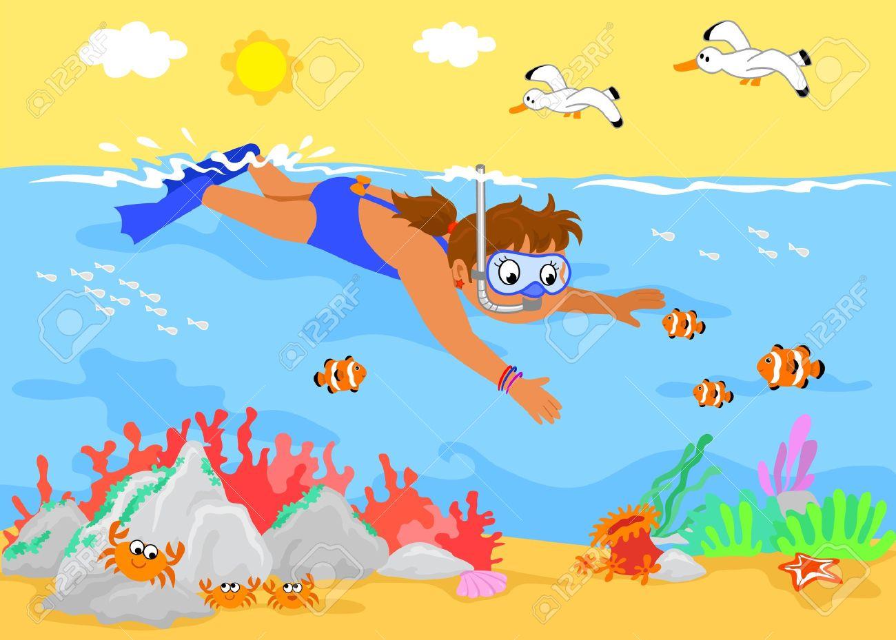Niña Nadando Bajo El Agua Con Criaturas Marinas. Ilustración De ...