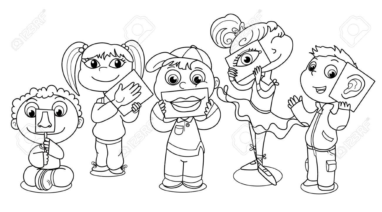 Niños De Caricaturas Que Ilustran Los Cinco Sentidos