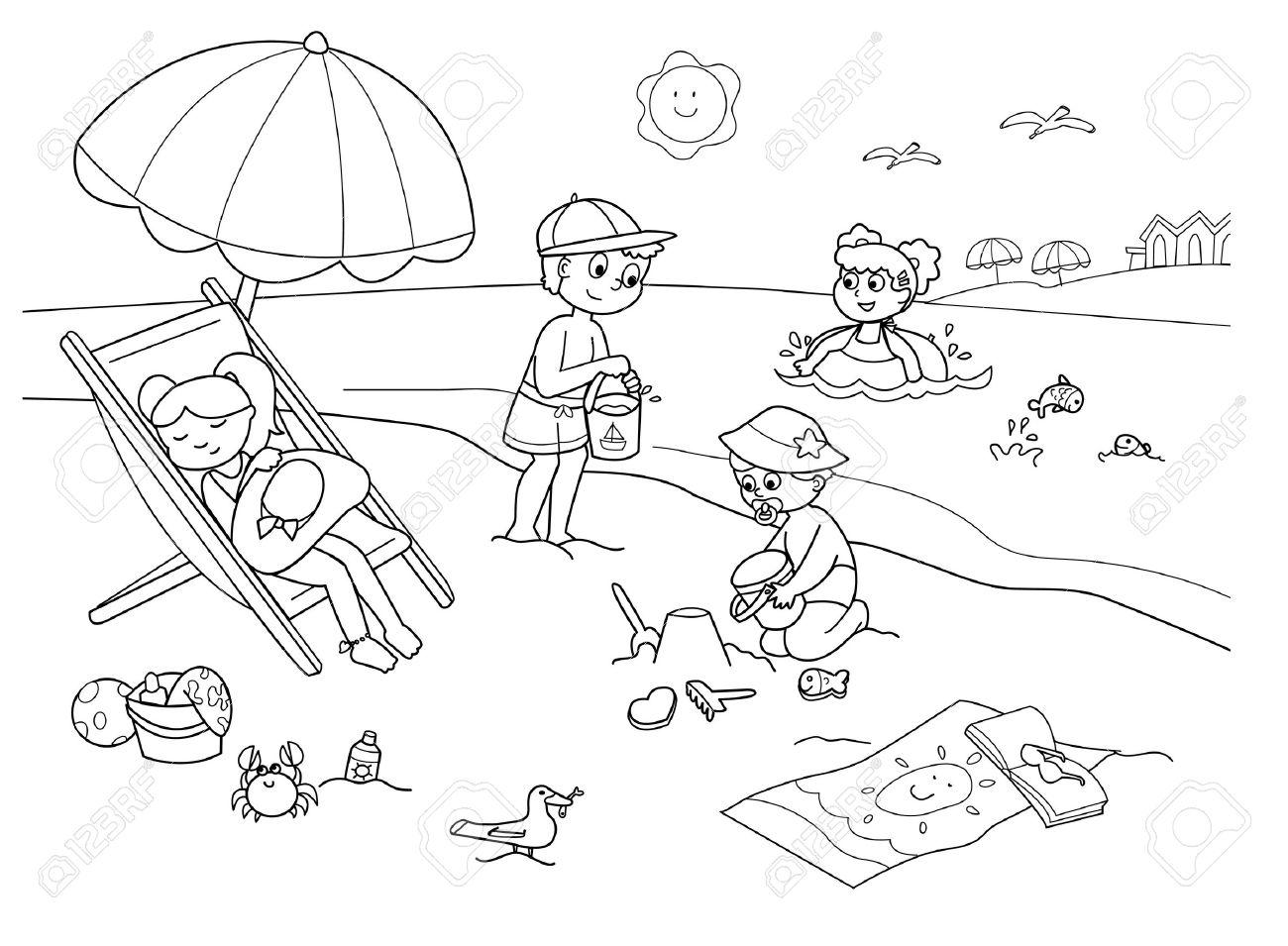 children playing with the sand at the beach. cartoon illustration