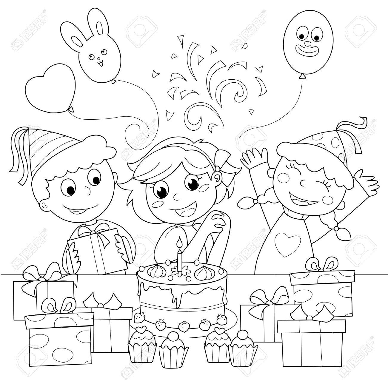 Geburtstags-Party: Fröhliches Mädchen Mit Kuchen Und Geschenke ...