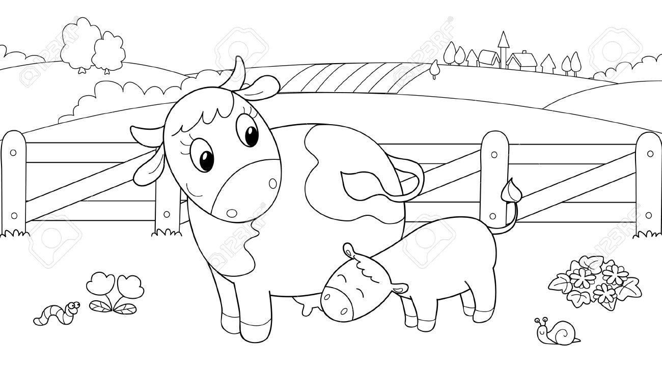 Vaca Linda Alimentación De Los Terneros. Ilustración De Dibujos