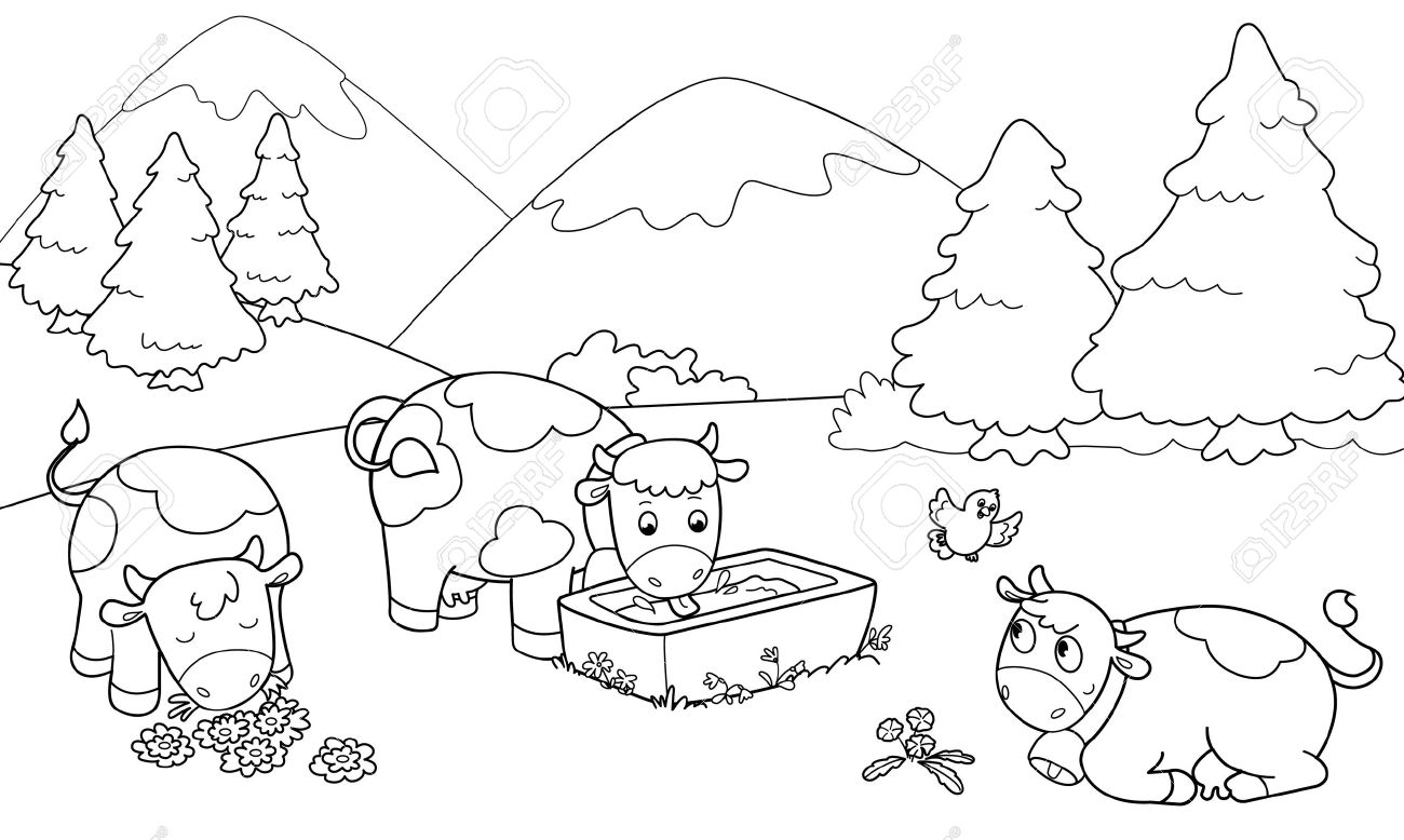 Tres Vacas Lindo En Las Montañas Ilustración Para Colorear Para Los Niños