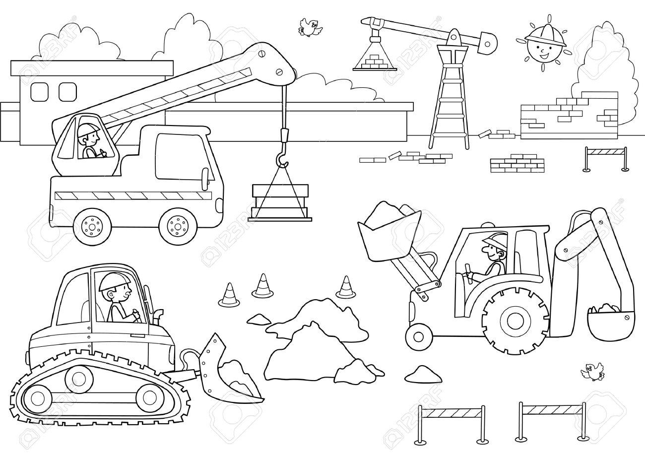 Astillero Con Los Hombres Y Las Máquinas En El Trabajo Imagen Para Colorear Para Niños