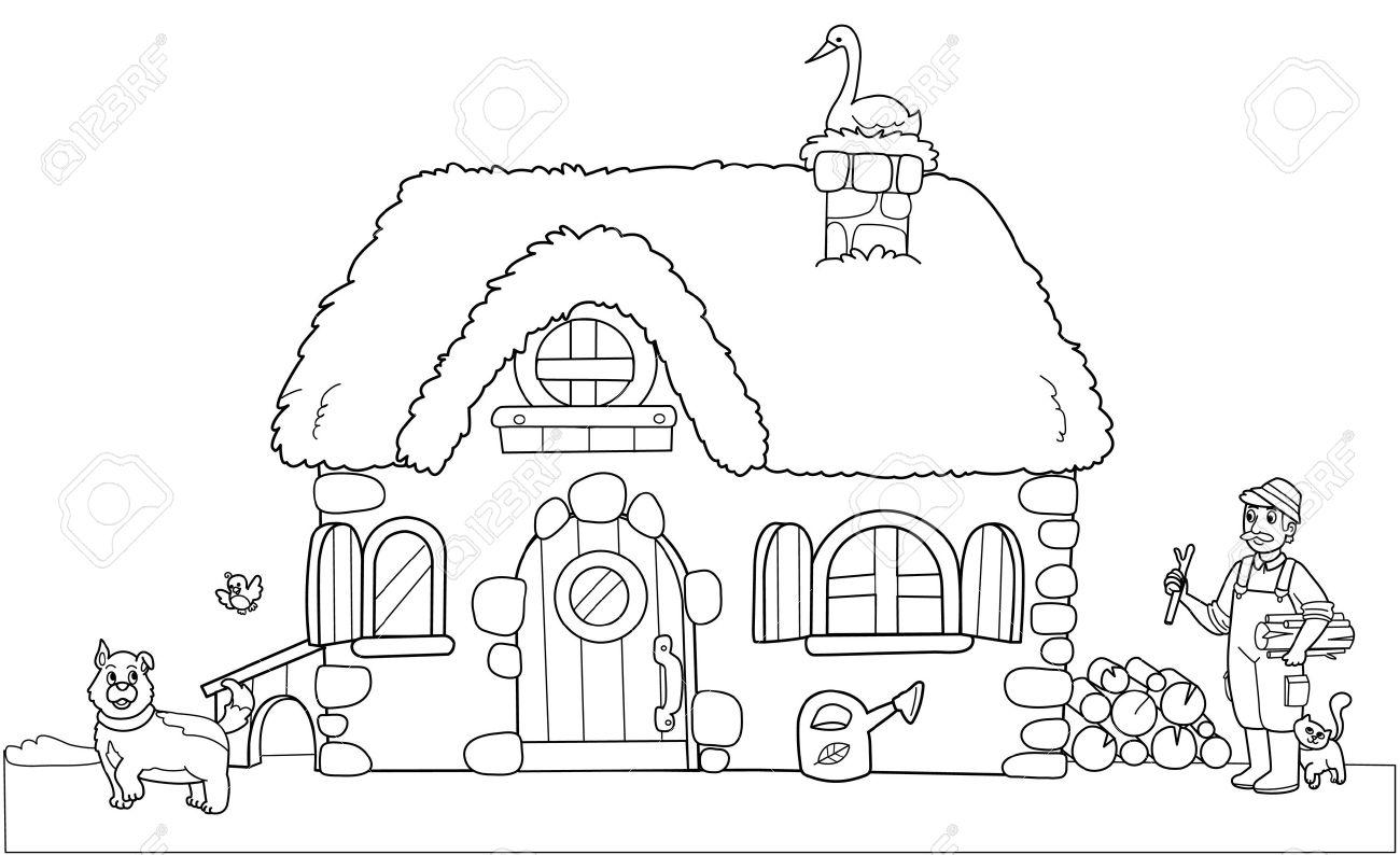 Linda Vieja Granja. Colorear Ilustración Para Niños. Ilustraciones ...