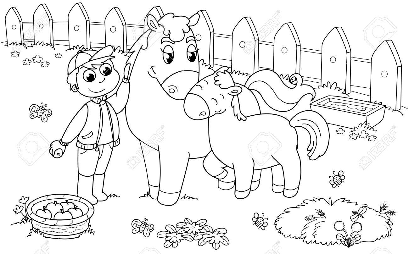 Boy with cute horse and colt. Black and white illustration. Stock Vector - 10988137