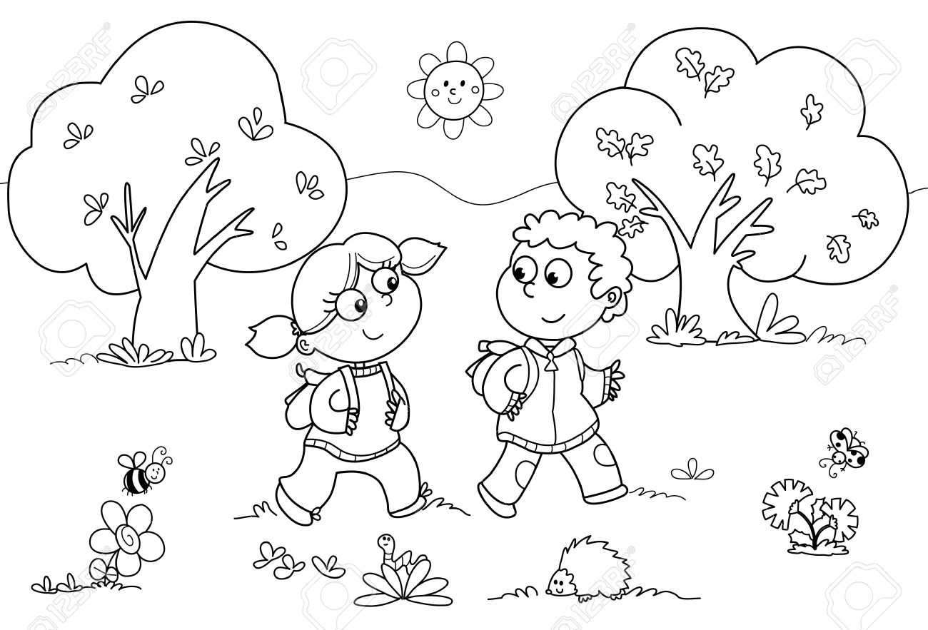Young Girl And Young Boy Walking In A Wood. Coloring Cartoon ...