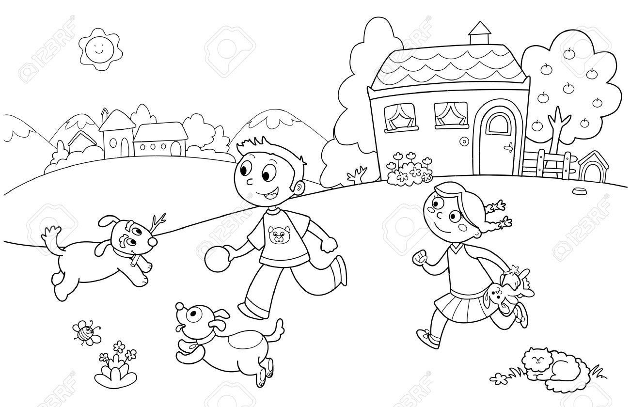 Niño Y Niña Jugando Con Perros En Un Jardín Colorear La Ilustración Para Niños