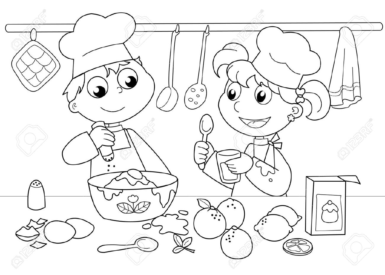 Young boy and girl cooking. Black and white illustration. Standard-Bild - 10988069