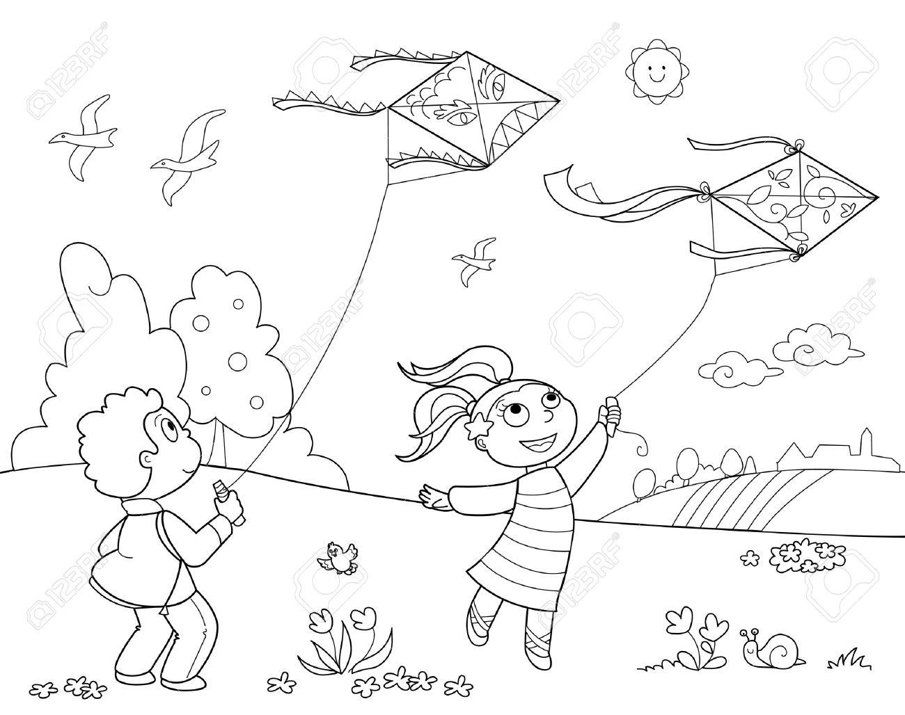 Niño Y Una Niña Jugando Con Cometas. Ilustración En Blanco Y Negro ...