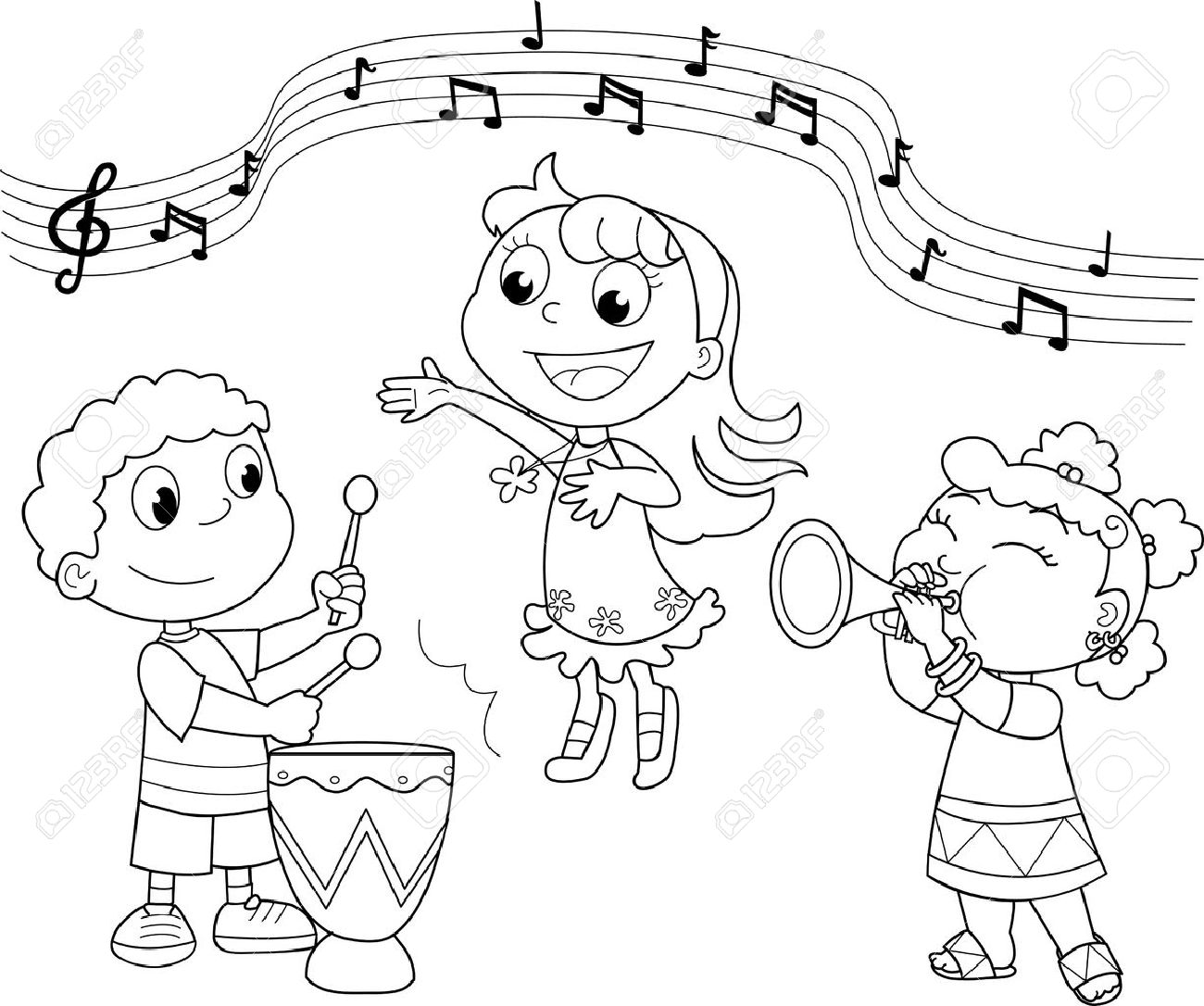music band: children playing and singing. black and white