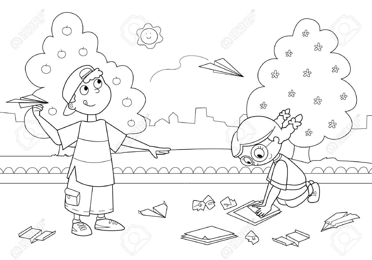 Niño Y Niña Jugando Con Aviones De Papel Colorear La Ilustración Para Niños