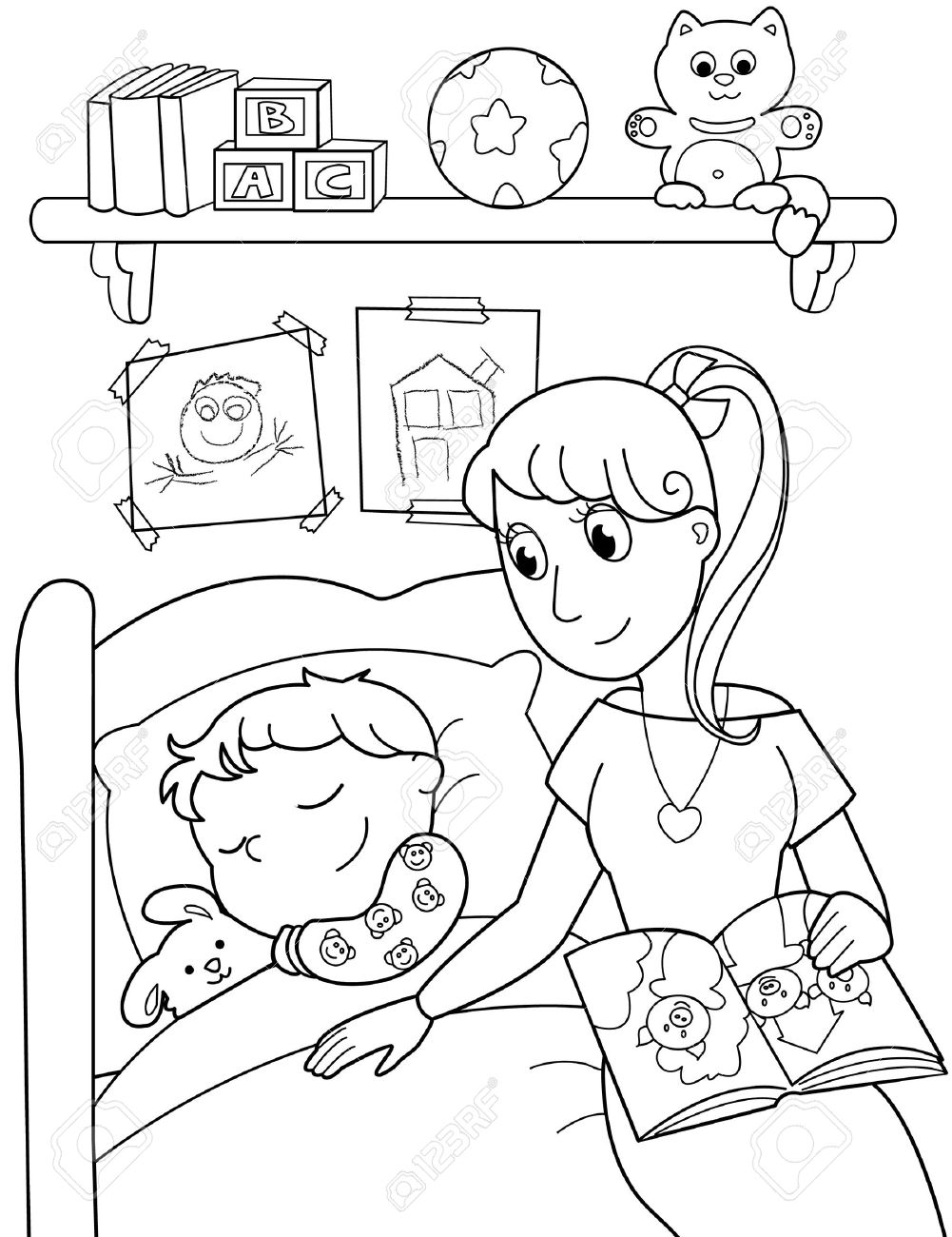 Cute child sleeping in bed with mom. Black and white illustration. Stock Vector - 10988138