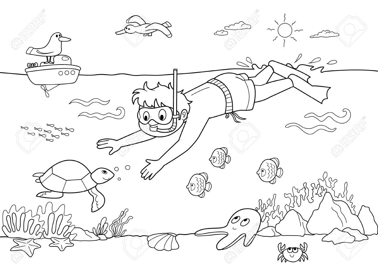 Ilustración Infantil Para Pintar: Buceo Niño Bajo El Agua Con Los ...
