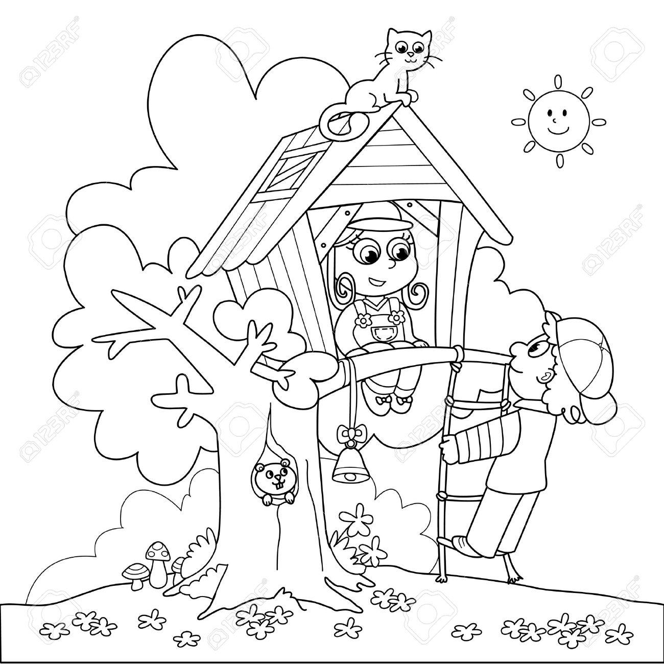 Los Niños Que Juegan En Casa Del árbol Dibujos Para Colorear