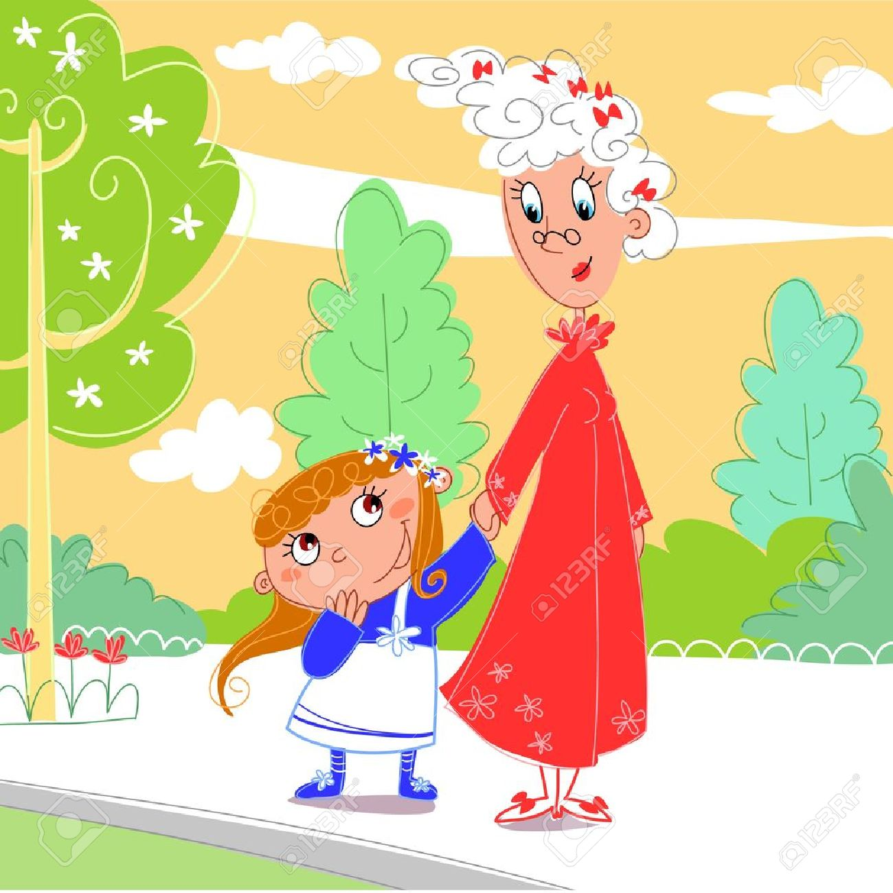 At the park: granny with her granddaughter Stock Vector - 10988144