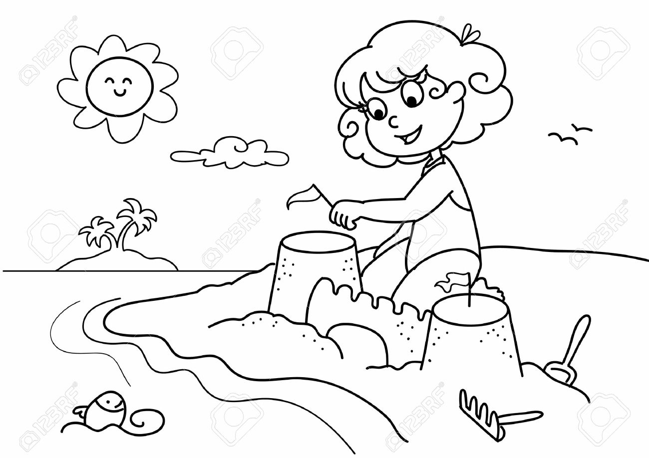 Young Girl Playing With Sand At The Beach On Holiday. Coloring ...