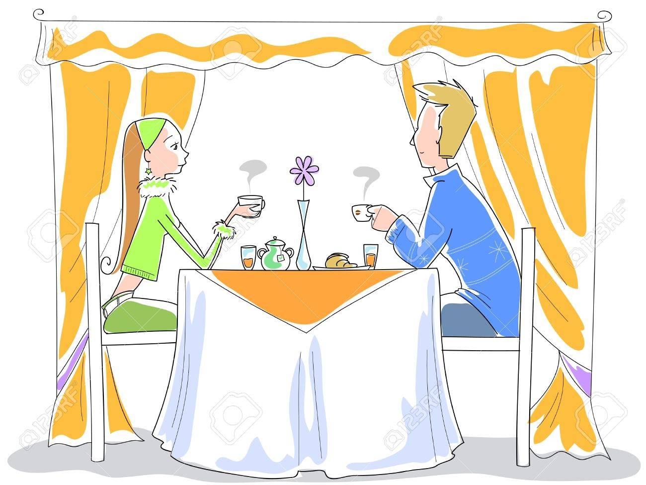 Una joven pareja se está comiendo el desayuno Foto de archivo - 10988087